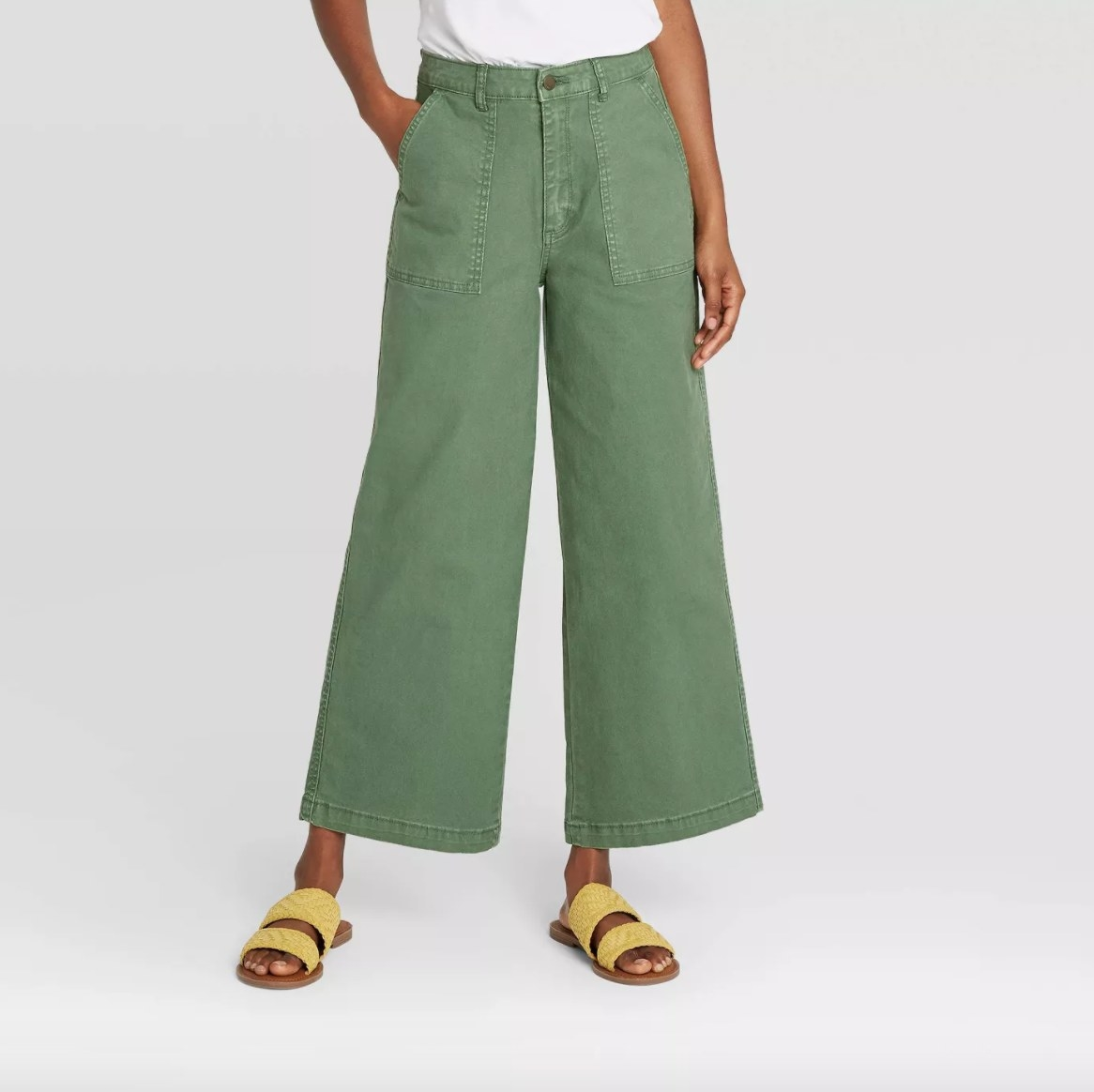 The jeans in the color green