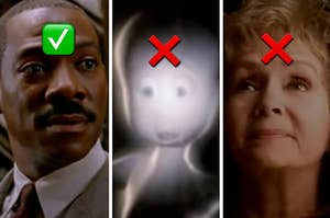 "Eddie Murphy is labeled with a check mark on the left with Casper and Debbie Reynolds labeled with an ""X"""