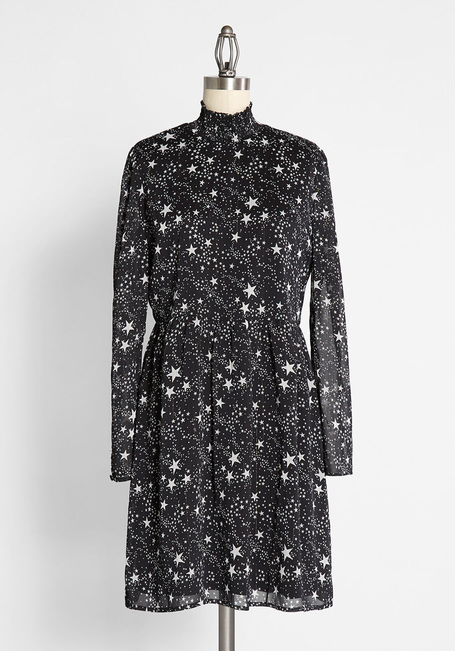 The star-print high-neck black dress