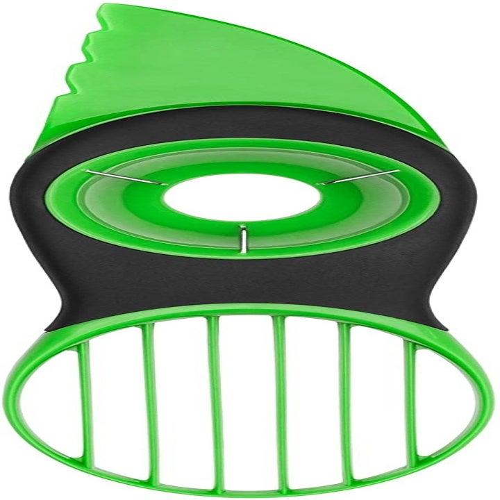 Product photo showing green avocado slicing tool