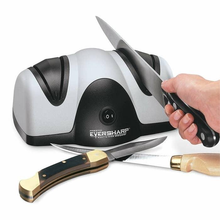 Gray and black knife sharpener