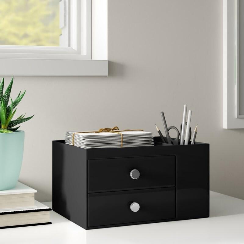 Black storage box organizer with chrome knobs