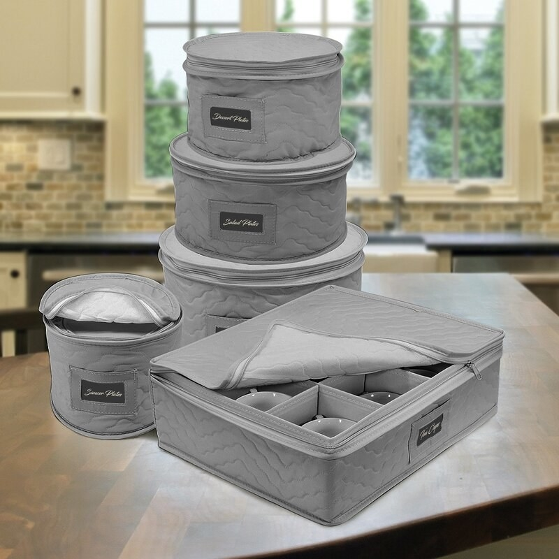 Gray dinnerware storage set