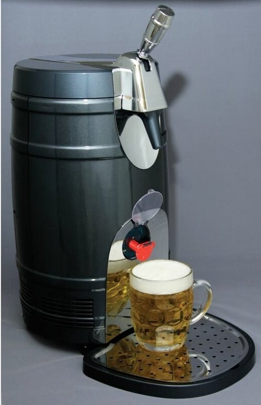 Silver and gray single tap keg with red miniature spout