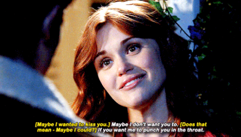 Lydia telling a guy she'll punch him in the throat if he tries to kiss her