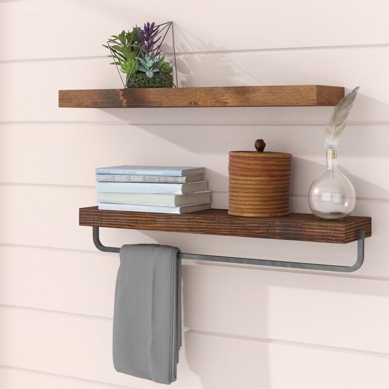 Floating shelf set in Walnut