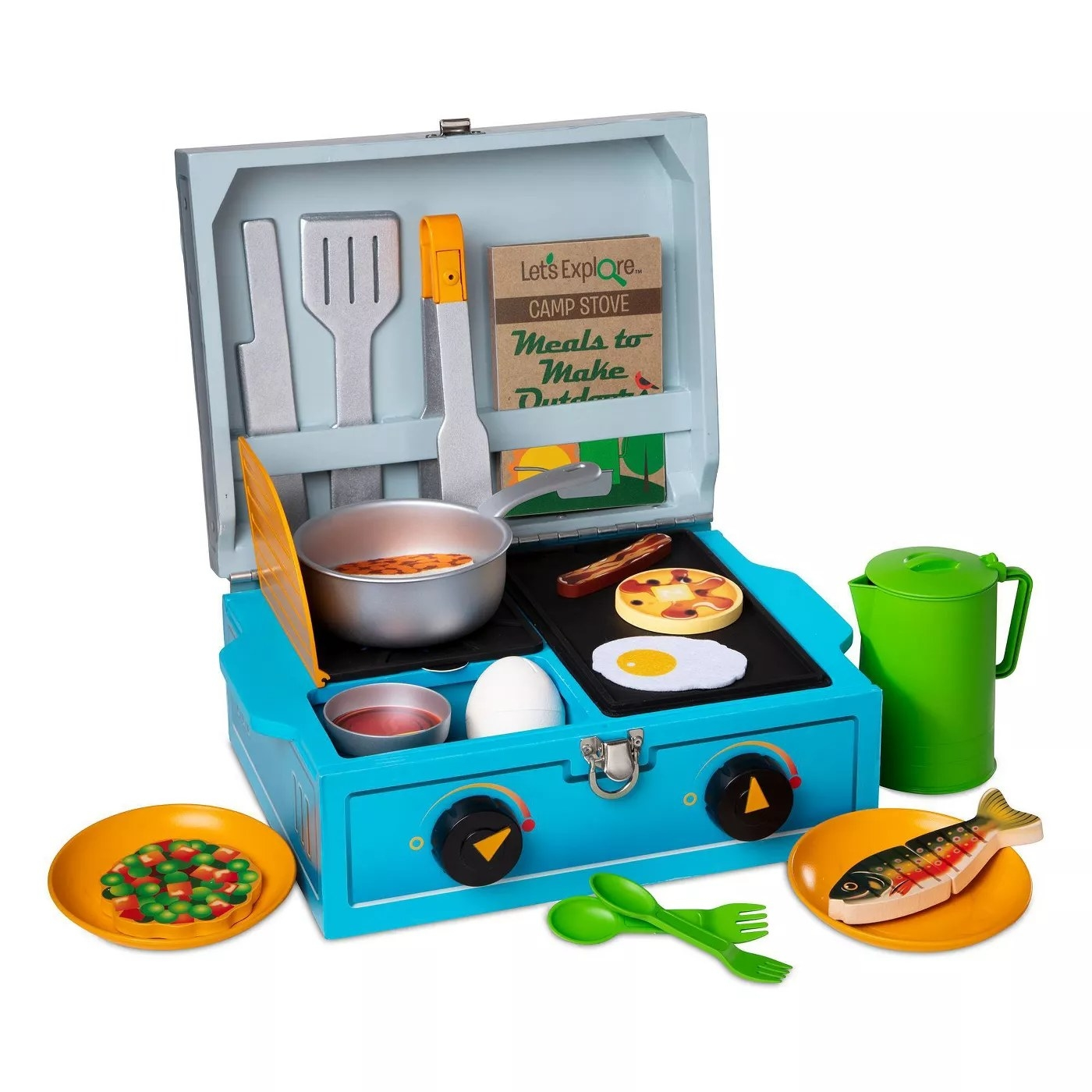 A 24-piece pretend play wooden camp stove with cookware and utensils