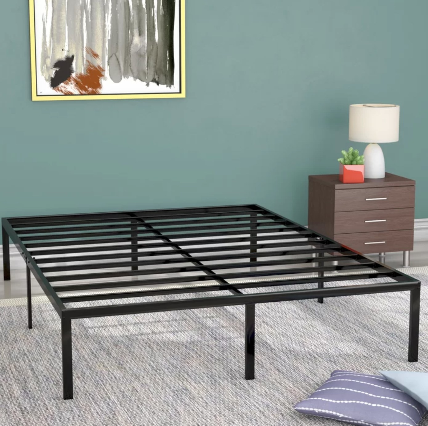 The heavy-duty bed frame in black metal
