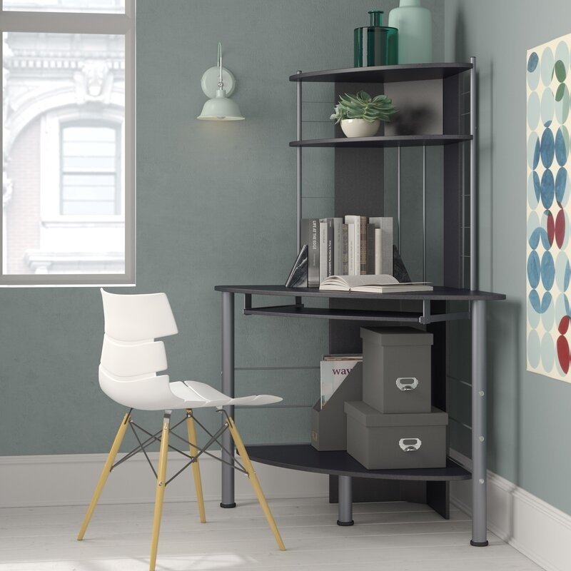Wood and metal corner desk