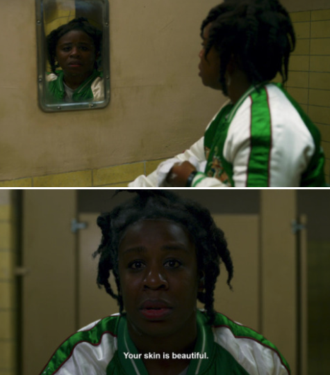 """""""Crazy Eyes"""" looking at her reflection in the mirror and telling herself her skin is beautiful"""
