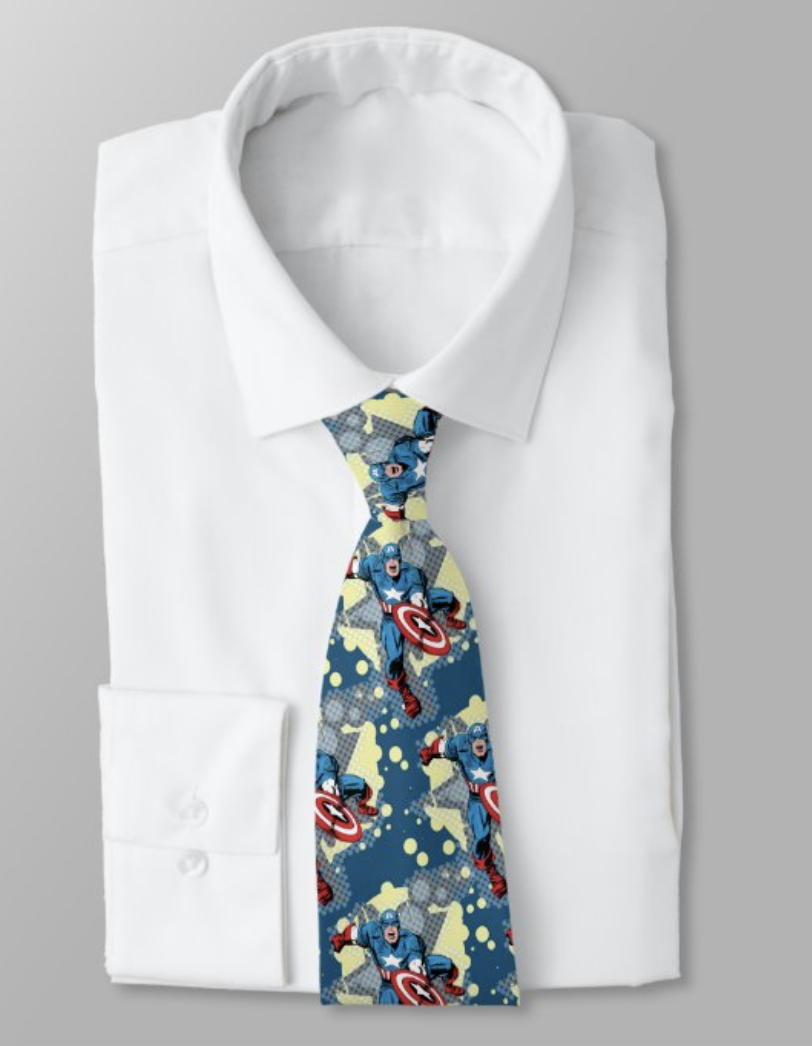 Tie with a captain america print
