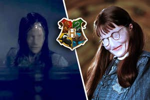 Moaning Myrtle without a face like the ghosts in Bly Manor