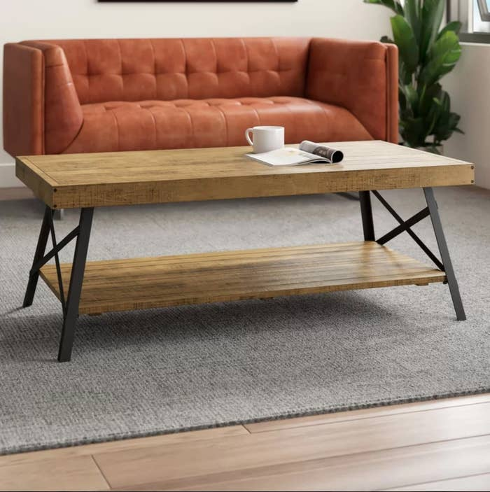 The coffee table with storage in natural pine brown