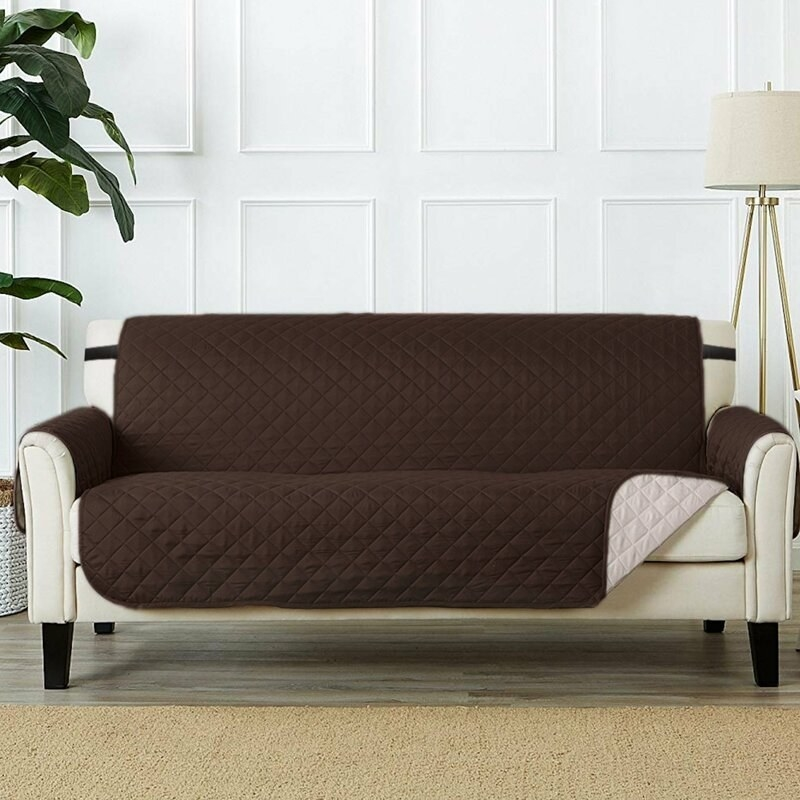 Brown and beige sofa cover