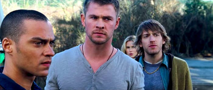 Jesse Williams, Chris Hemsworth, Anna Hutchison, and Fran Kranz looking suspicious in The Cabin in the Woods