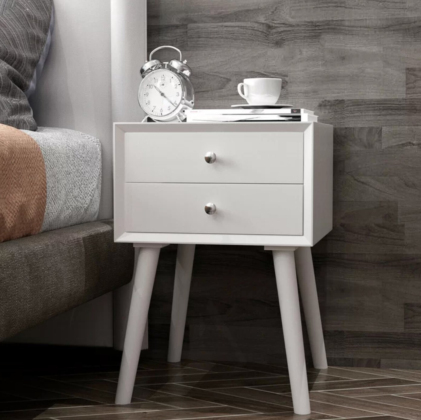 The two-drawer nightstand in white