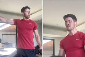 Nick Jonas working out