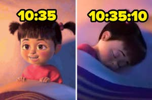 Boo from Monsters Inc awake with 10:35 written over / Boo from Monsters Inc asleep with 10:35:10 written over