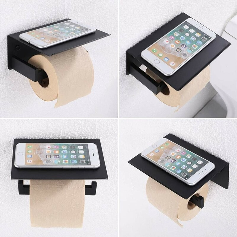 Black stainless steel toilet paper and phone holder