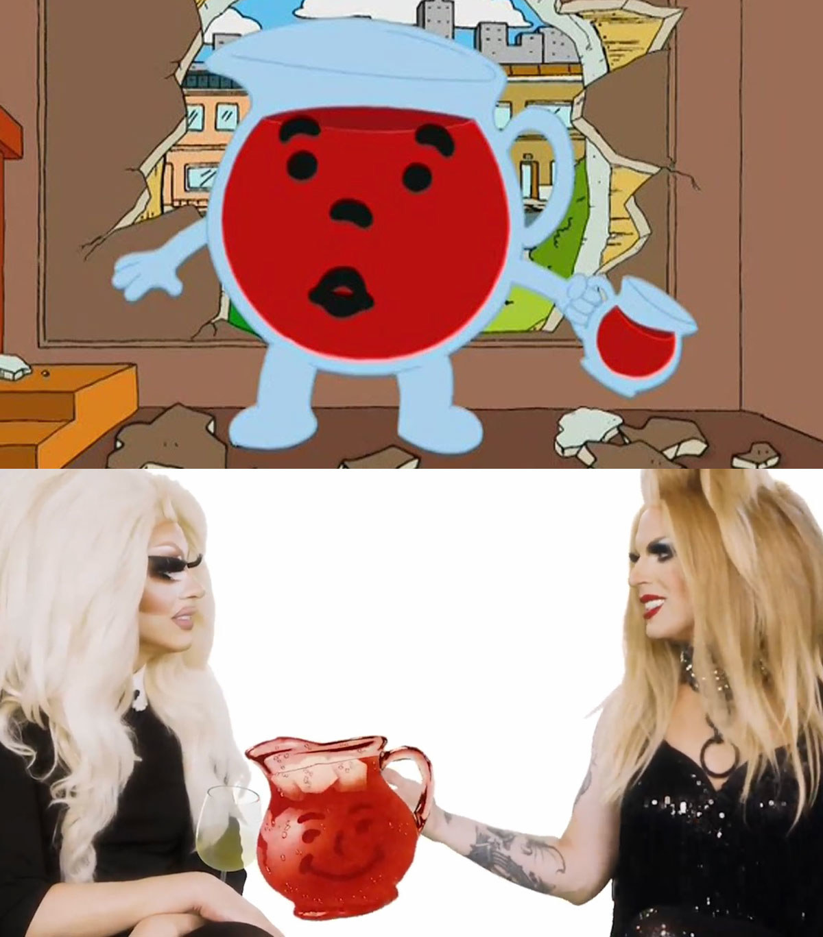 A split image showing the kool aid mascot bursting through a building in family guy and the mascot again in webseries unhhhh he is a big red pitcher with a smiley face