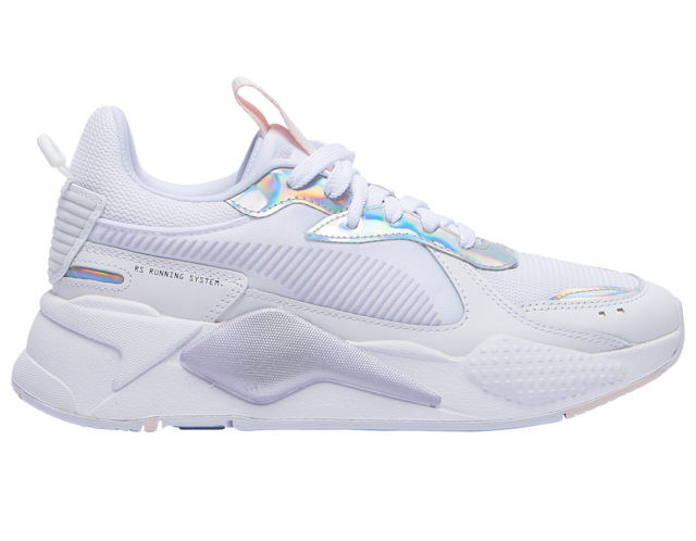 white sneakers with holographic accents