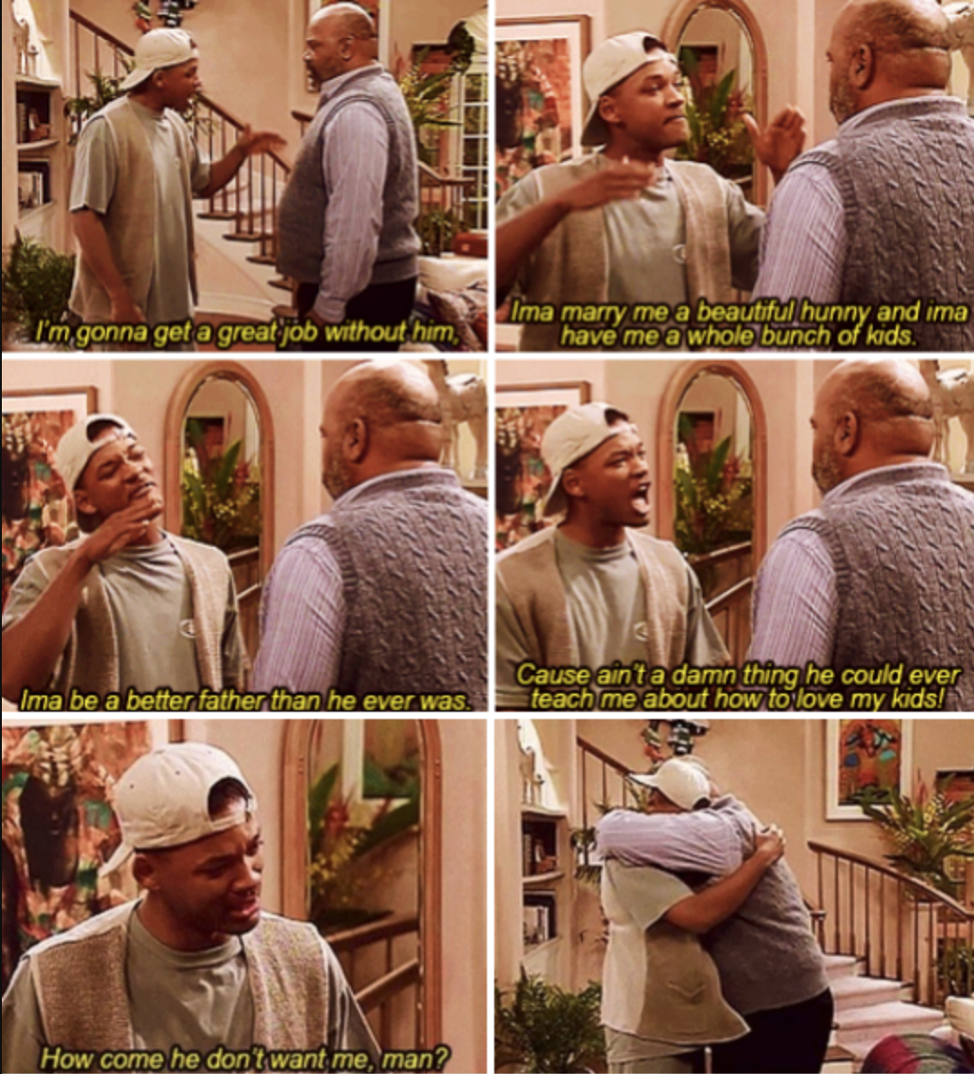 Will upset that his birth father doesn't want to have a relationship with him and ultimately cries in Uncle Phil's arms