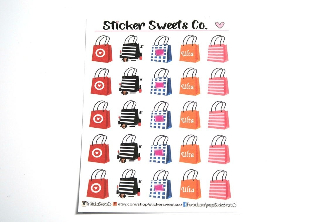 A sheet of shopping bag stickers, featuring five stickers each of five different bags reminiscent of those from Target, Sephora, Bath and Body Works, Ulta, and Victoria's Secret