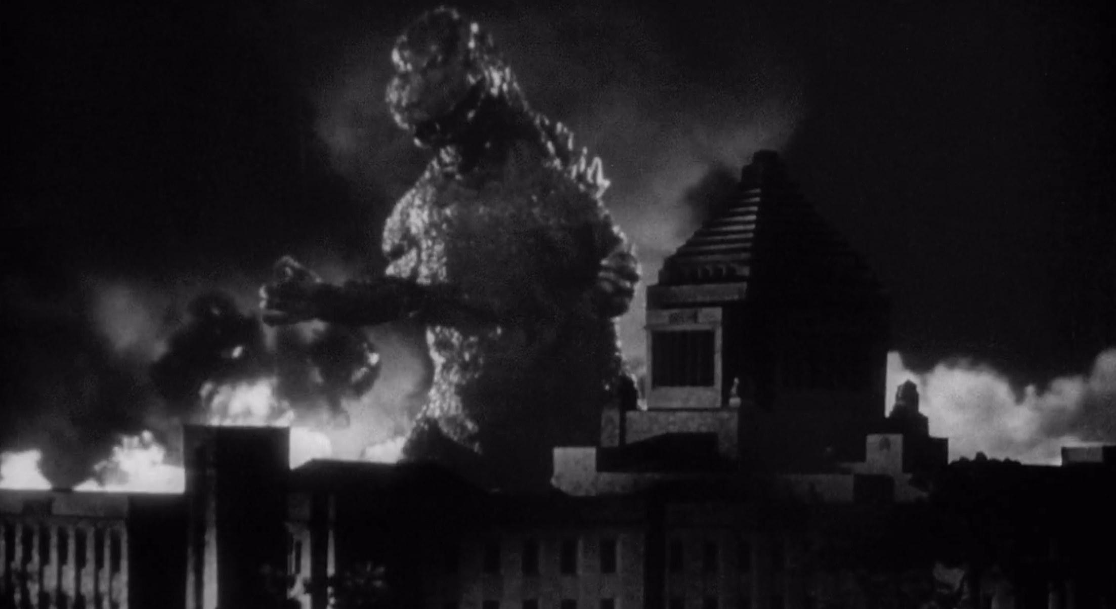 A huge monster terrorizing a city