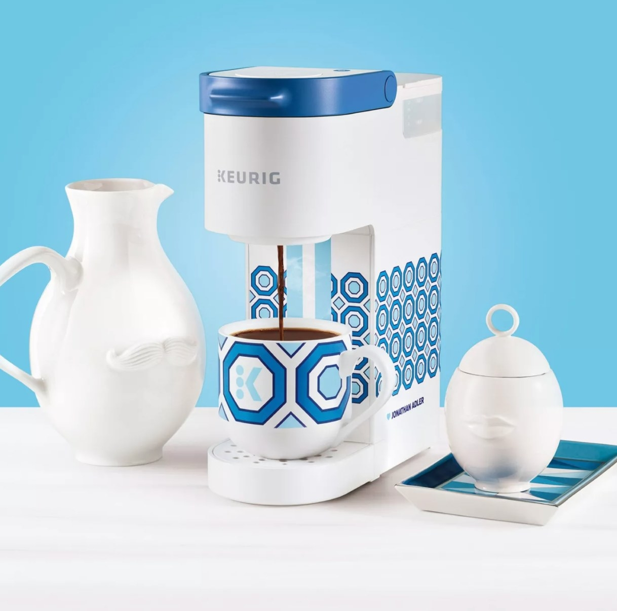 The blue and white Keurig