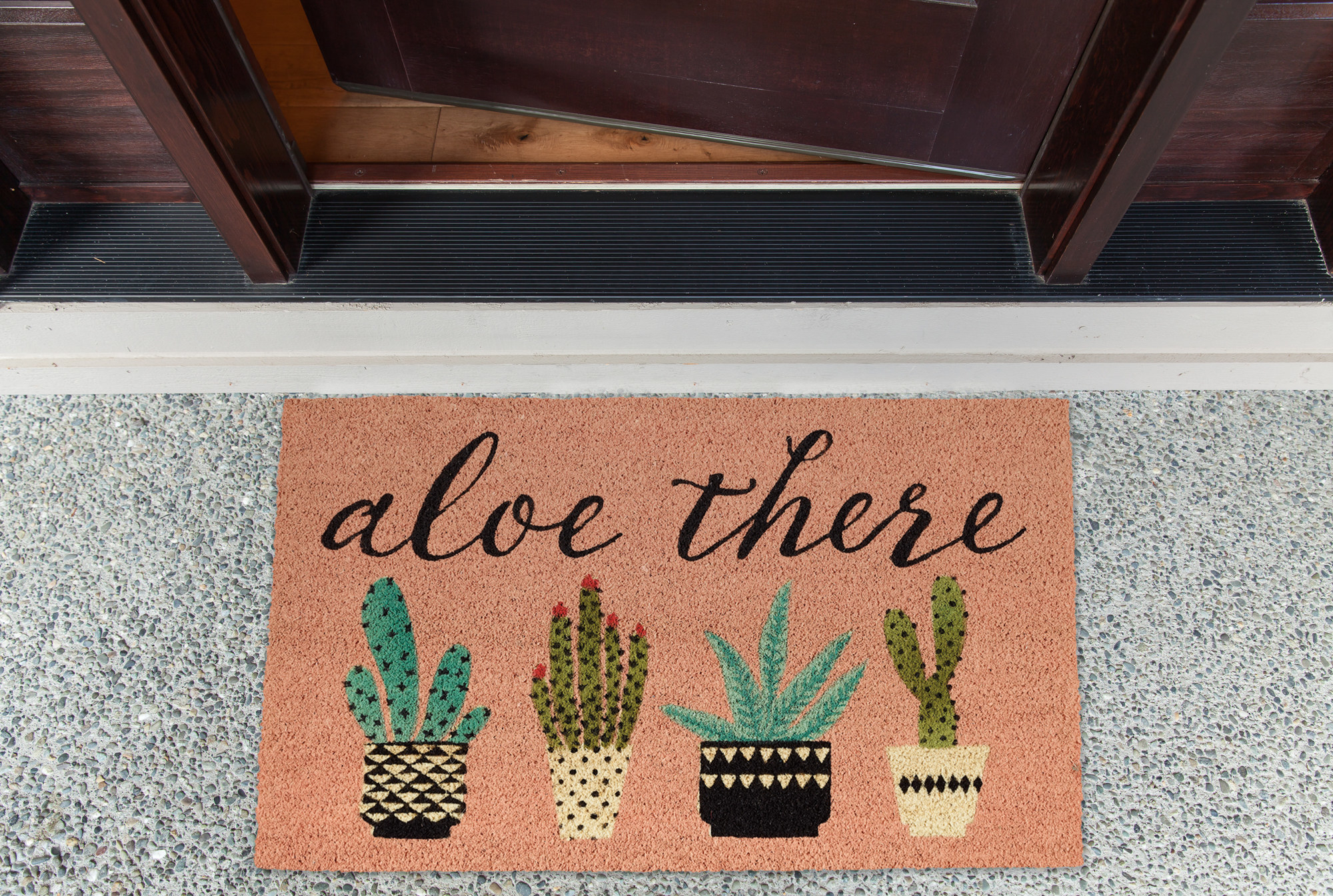 The doormat displayed outside a home to show its size and color