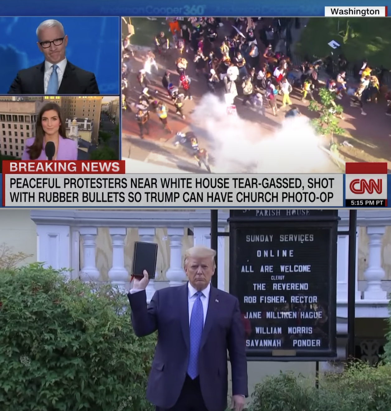 Screenshots from a news report of officers charging at, tear-gassing, and pepper-spraying peaceful protestors moments before Trump holds a Bible upside down in front of a church