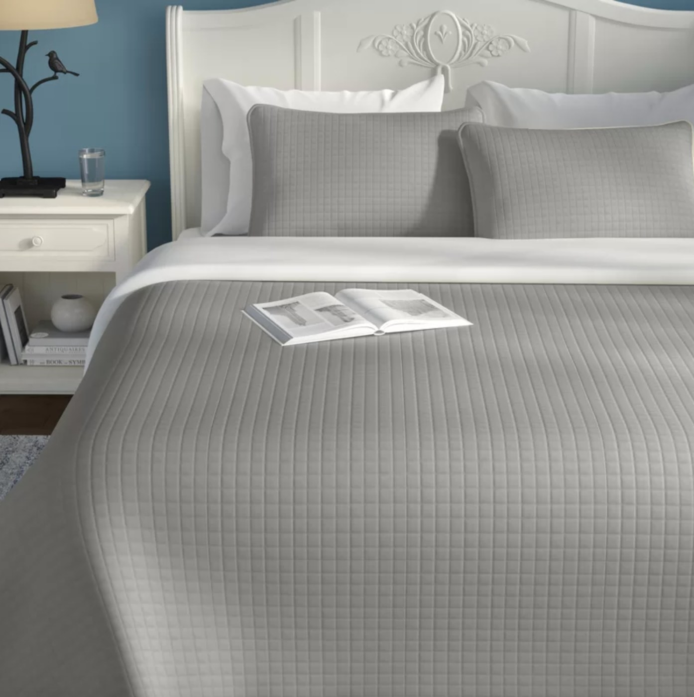 The two-piece quilt set in steel gray