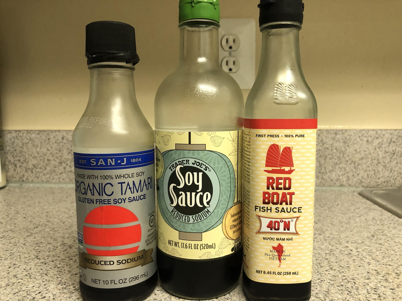 Tamari, soy sauce, and fish sauce bottles