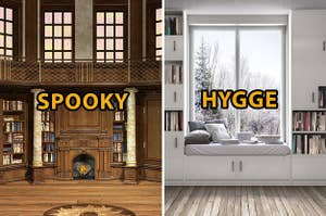 """(left) old fashioned wood library with text """"spooky;"""" (right) white bookshelves with cozy bench and text """"hygge"""""""