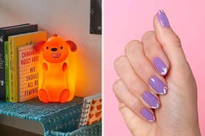 On the left, an LED lamp shaped like a dog in a hotdog bun. On the right, purple nails with sprinkle stickers