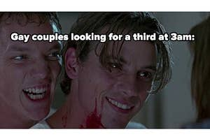 """""""Gay couples looking for a third at 3 am"""" next to a picture of two men"""
