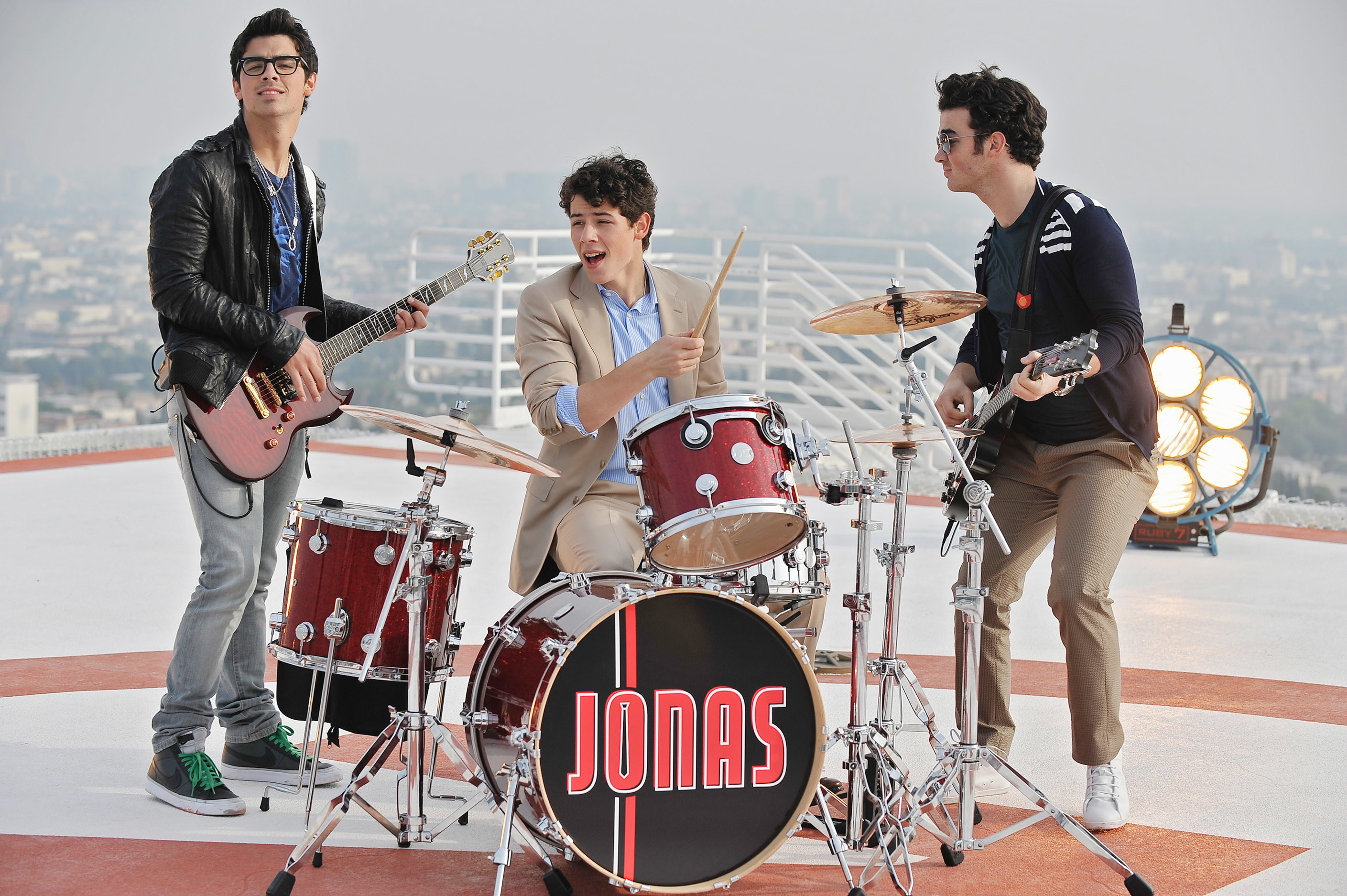 A promotional photo of the Jonas Brothers taken for Jonas