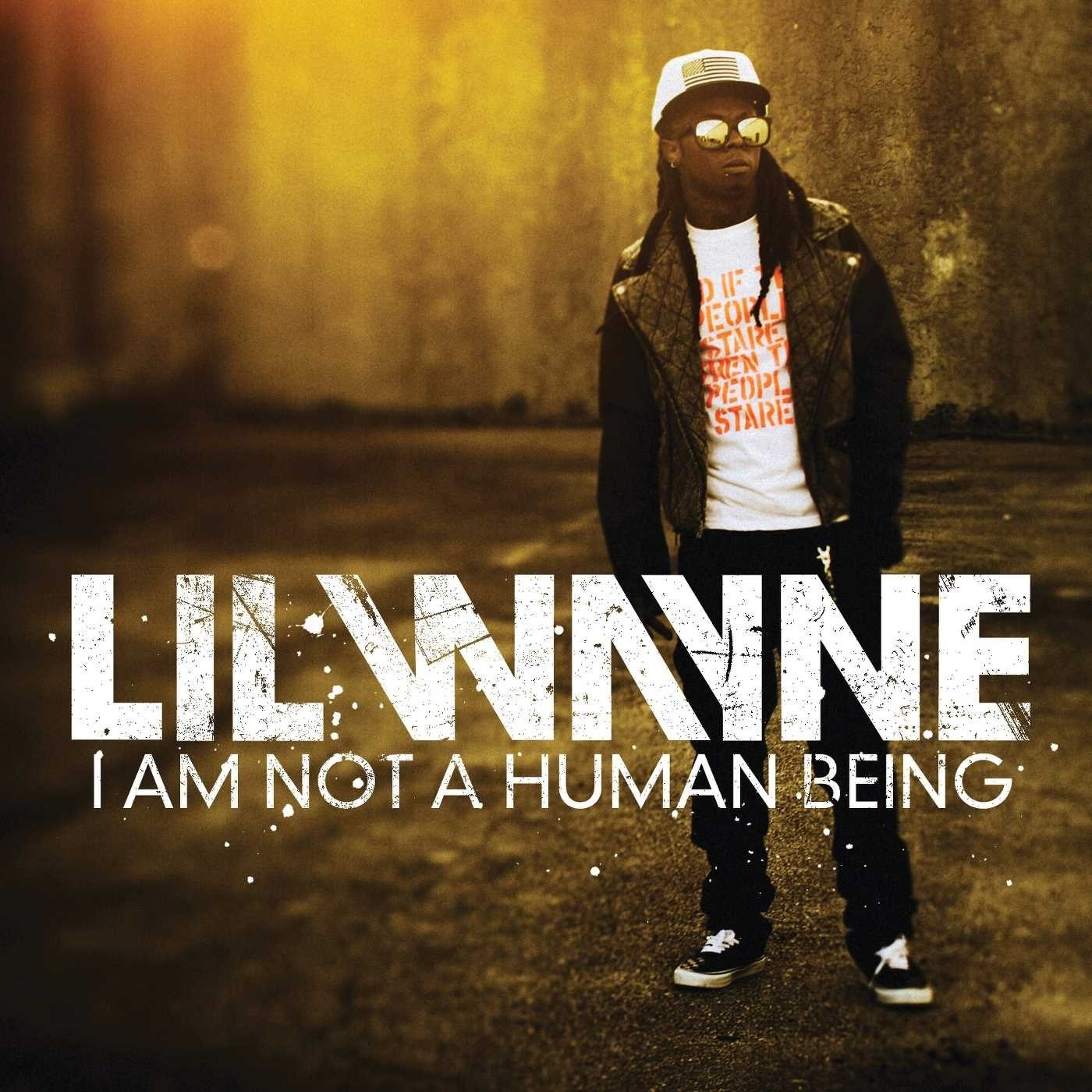 The album cover of I Am Not a Human Being featuring Lil Wayne looking to the side on it while wearing sunglasses