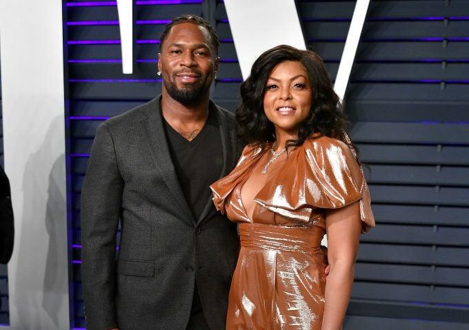 Kelvin Hayden (L) and Taraji P. Henson attend the 2019 Vanity Fair Oscar Party