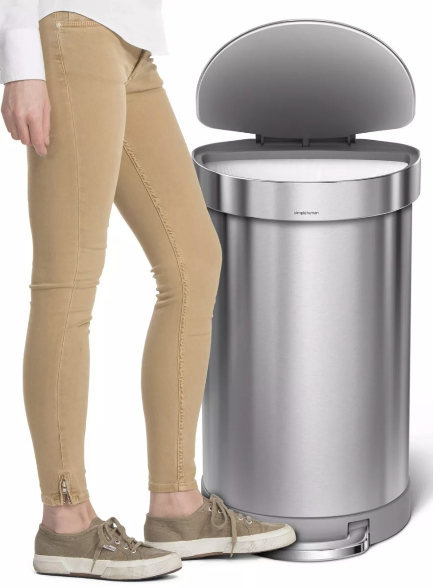 The stainless steel half-moon trashcan