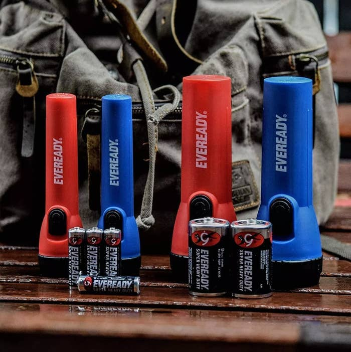 The red and blue flashlights