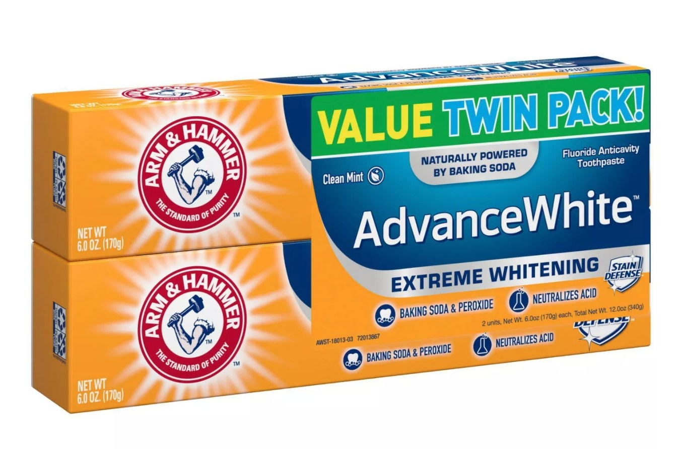 A twin pack of toothpastes