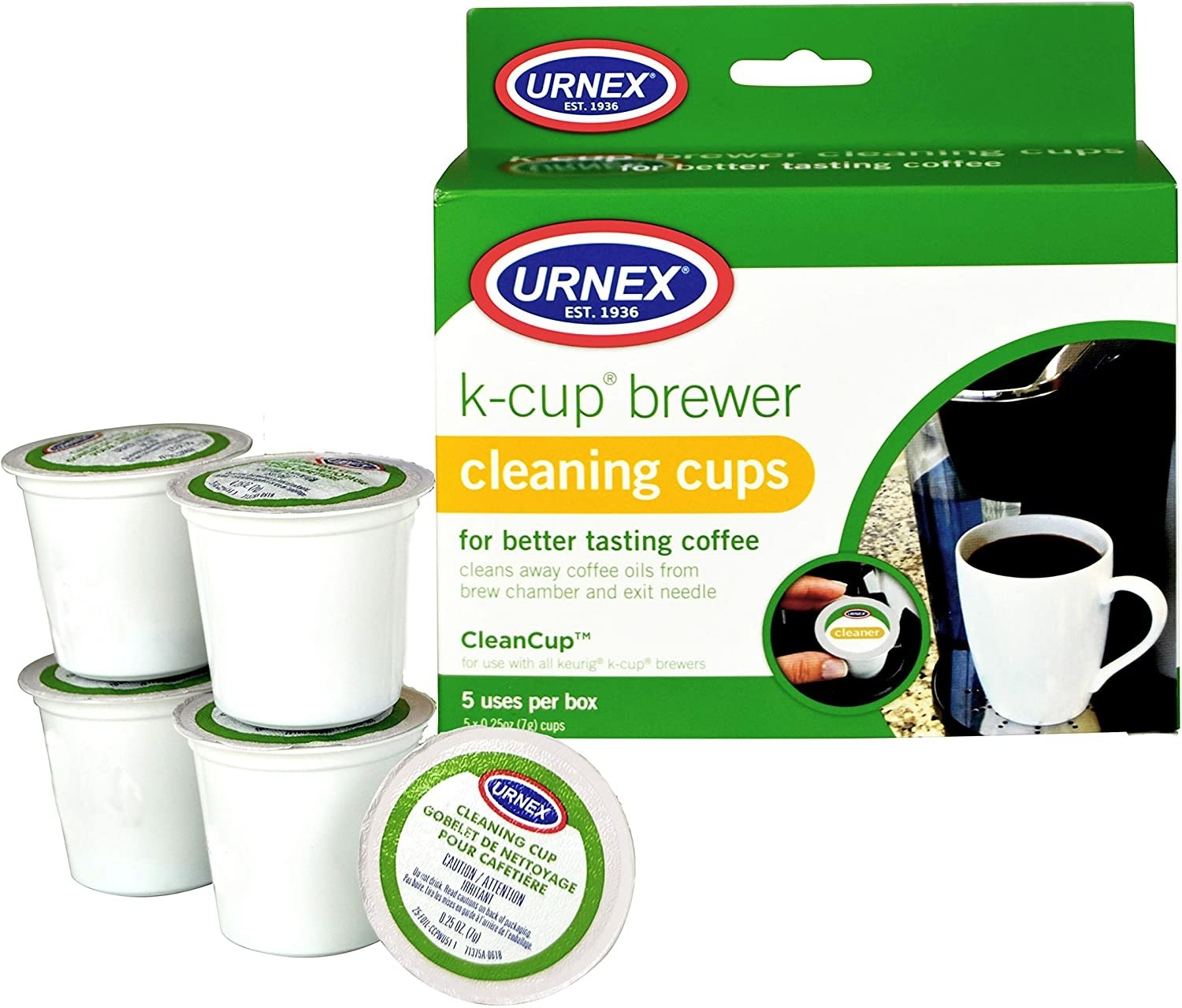 Five coffee maker cleaning cups next to the box it comes in