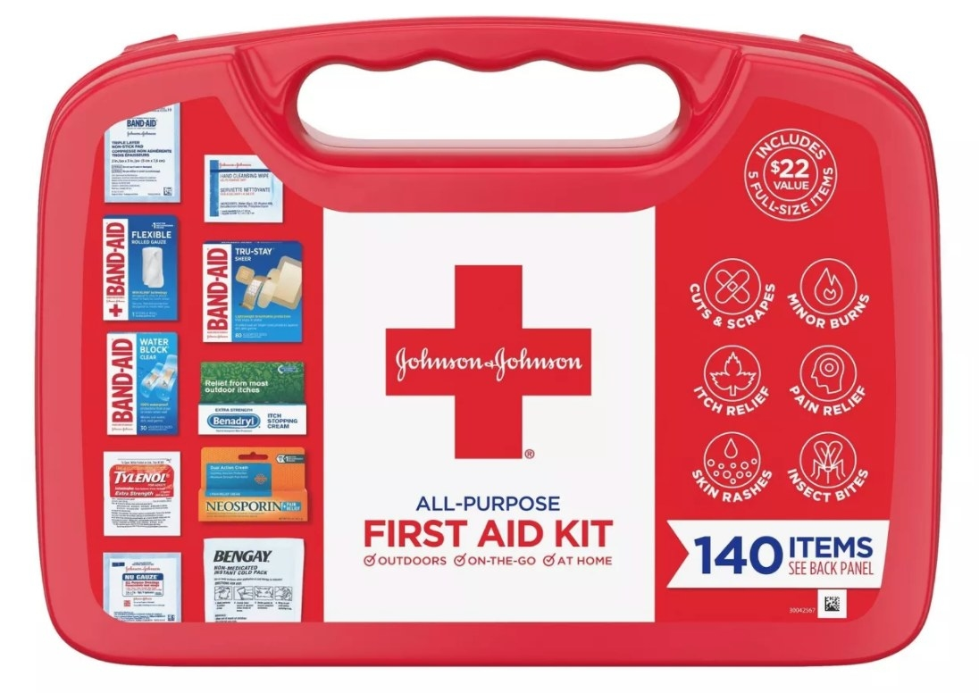 The red all-purpose first aid kit with a handle