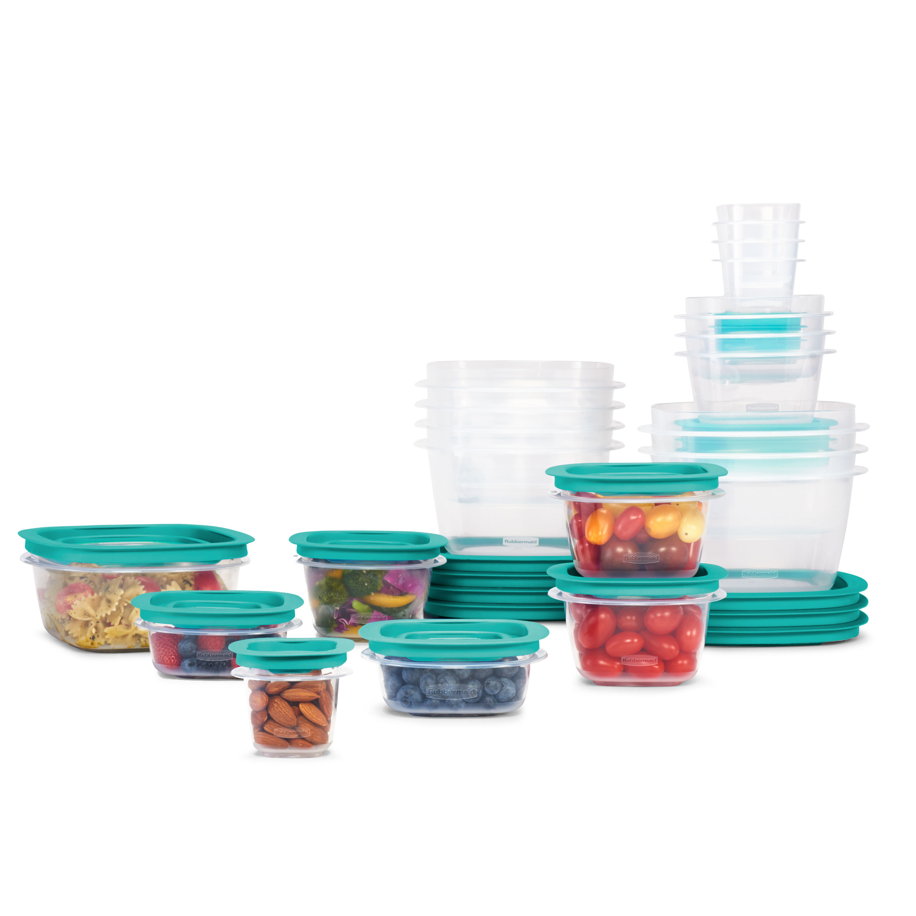 The clear and teal food storage containers