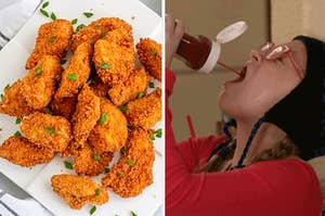 A plate of crispy chicken nuggets on the left, and a girl drinking ketchup straight out of the bottle on the right