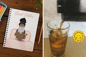 """On the left, a """"Goal Getter"""" notebook, and on the right, a cold brew coffee maker"""