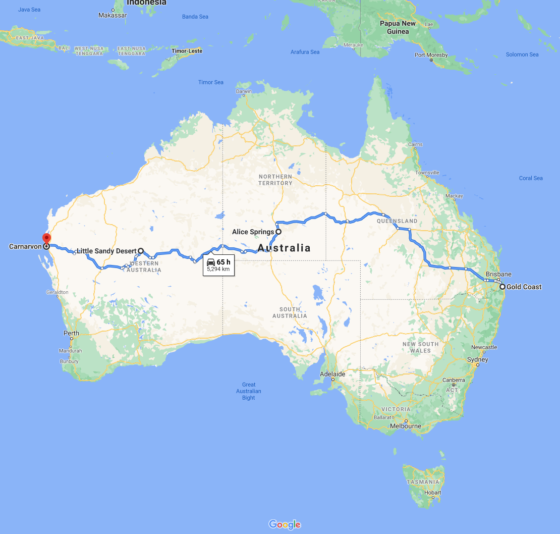A map of Australia showing how that it would take 65 hours to travel from one end to the other
