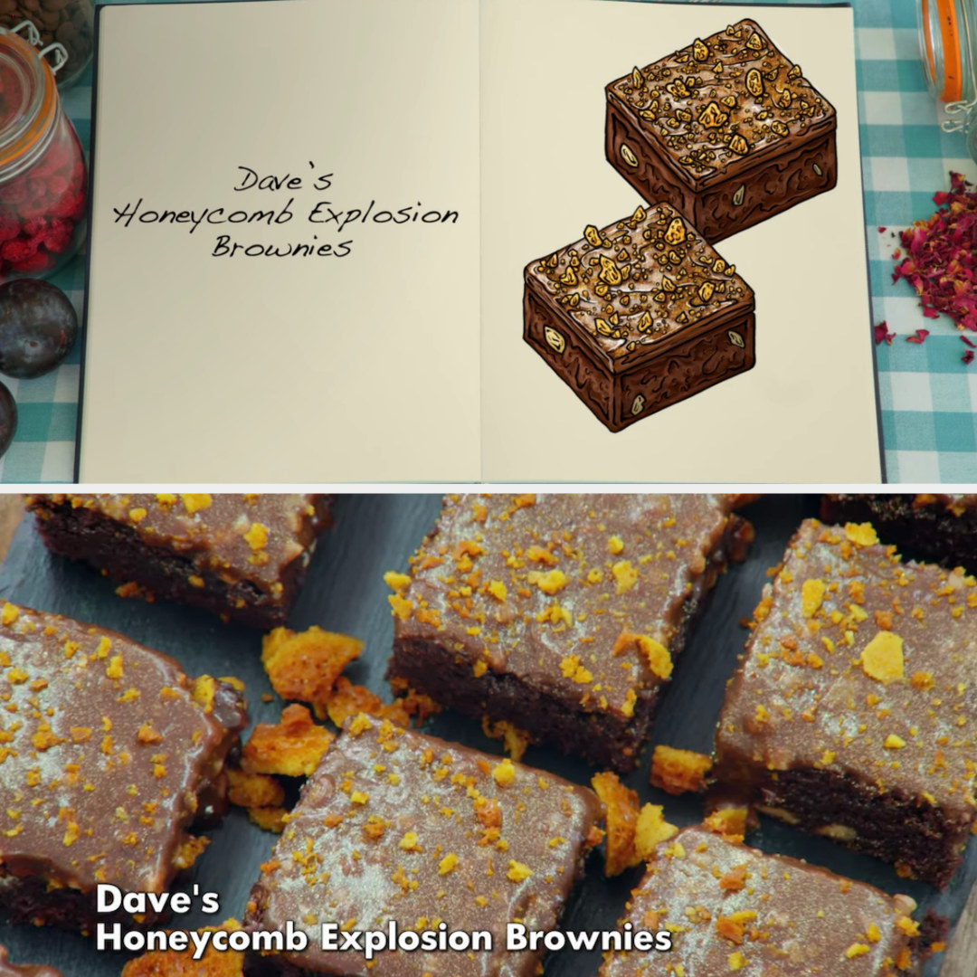 Dave's brownie side-by-side with its drawing