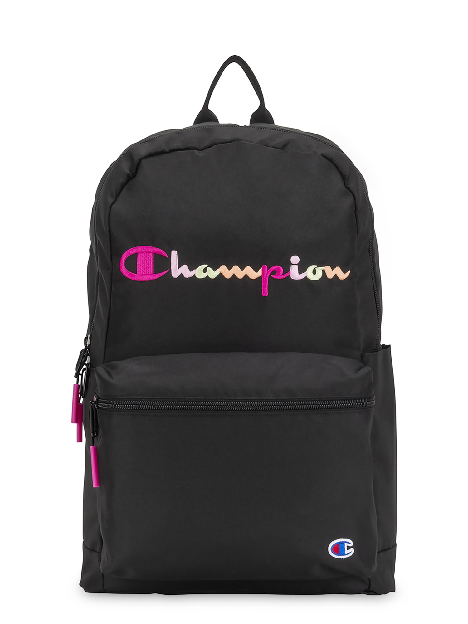 The black backpack with pink and white writing